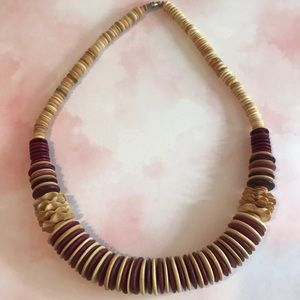 Jewelry - Vintage 80's Wooden Bead Necklace